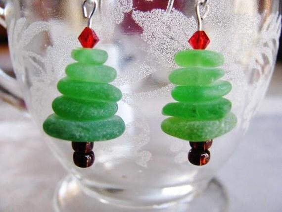 Christmas tree earrings holiday beach glass stacked sea