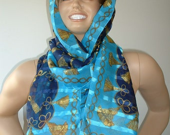 Vintage Scarf, Upcycled, Recycled, Refashioned, Very Long Fashion Statement
