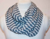 SALE blue stripe jersey infinity scarf, nautical, blue and white, tee shirt scarf, infinity, handmade, stacylynnc