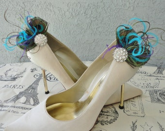 Wedding Bridal  Peacock Feather And Rhinestone Shoe Clips Set of Two