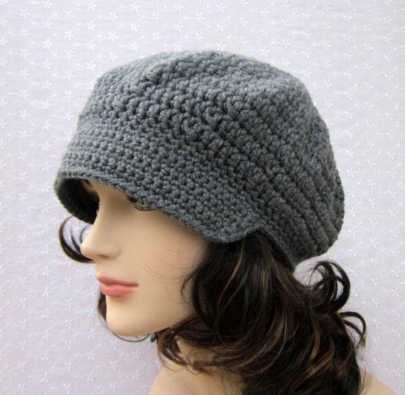 Gray Crochet Hat - Womens Newsboy Cap - Fall Winter Fashion Accessories