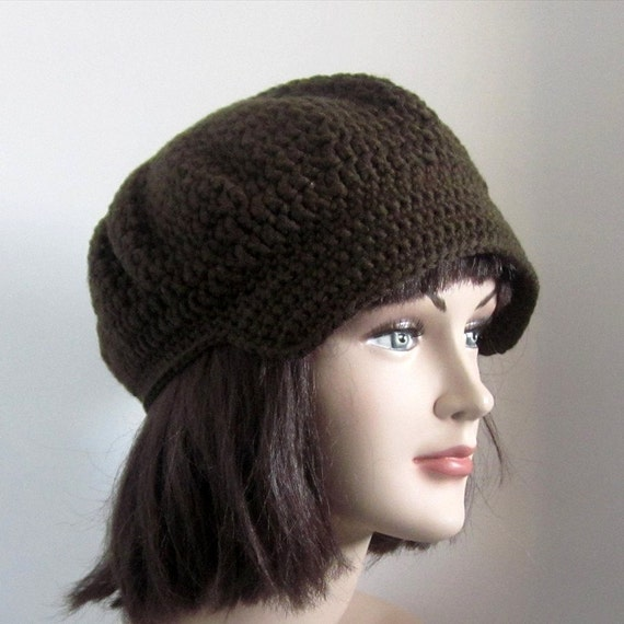 Brown Newsboy Crochet Hat - Womens Cap - Hat with Visor - Spring Fashion Accessories