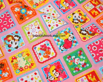 Animal fabric 50 cm by 53 cm or 19.6 by 21 inches  (n415)