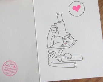 lark press love under the microscope valentines or everyday letterpress greeting card