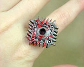 Gruesome Bloody Square Saw Blade - Industrial Steampunk Mechanical Polymer Clay - Adjustable Ring