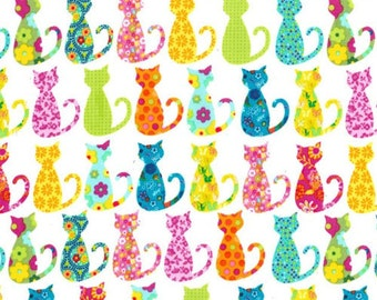 Two (2) Yards - Calico Cat Multi Colored Fabric Michael Miller CX4911-WHIT-D