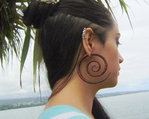 Fake gauge Earrings , Hand Craved, Natural Sono Wood ,tribal style Split Gauge Earrings Sprial XXL