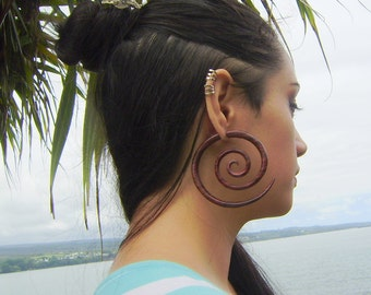 Fake gauge Earrings , Hand Craved, Natural Sono Wood ,tribal style Split Gauge Earrings Sprial XXL