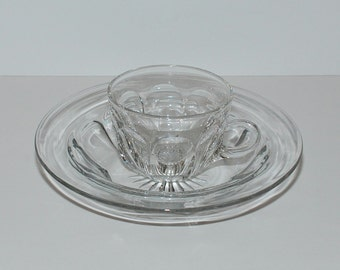Vintage Heisey Colonial Glass Cereal Bowl & Cup
