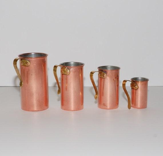 Vintage Copper Measuring Cups, Set of 4