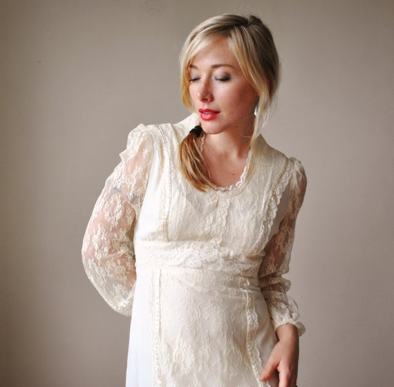 1970s Antique Lace Prairie Dress, Wedding Gown, size xs to small