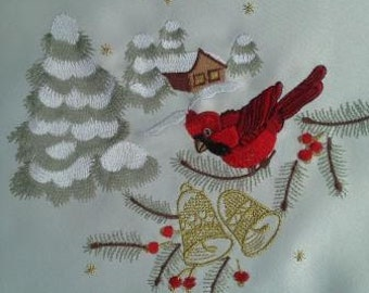 """60"""" Christmas Holiday Table Runner or Dresser Scarf with a Red Cardinal and Cabin"""