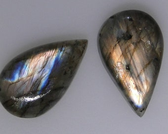 2 Labradorite pear cabochons, nice copper and blue color flash on both, 40.75 cts t.w.    043-13-171