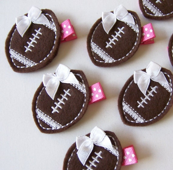 Chocolate Brown and Hot Pink Football Felt Hair Clip - Sports Felt Clippies - Perfect for fall and back to school