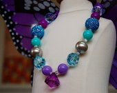 Girls Mermaid's Purple Treasure Chunky Necklace By Dreamspun