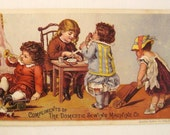 Victorian 1890s TRADE Card UTICA N Y Domestic Sewing Machines Co   Chromolithograph Children Nursery