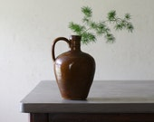 Vintage French Pottery, Brandy Jug, Brown Stoneware Crock, French Country Kitchen Decor