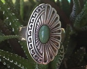RESERVED---Unique Sterling Silver Ring with Green Stone