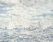 Vintage Nautical Print, Book Plate, Sailing Print, Americas Cup, Around Fourth Mark, Intrepid, Dame Pattie, Joseph Golinkin, Sailboats, 1967