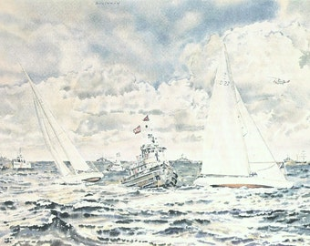 Vintage Nautical Print, Book Plate, Sailing Print, America's Cup, Windward Mark, Intrepid, Navy Tug, Joseph Golinkin, Ship Painting, 1977