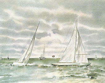 Vintage Nautical Print, Book Plate, Sailing Print, Americas Cup, Round Weather Mark, Gretel II, Intrepid II, Joseph Golinkin, Sailboats