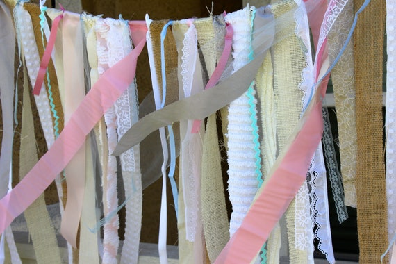 Burlap WEDDING Fabric GARLAND BACKDROP : Shabby Chic Rustic Wedding Backdrop