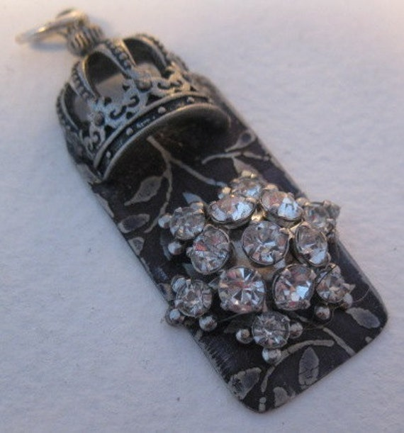 etched metal vintage rhinestone and crown pendant charm