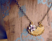 Briar Rose Steampunk Flower Necklace - Art Nouveau in Mauve and White with Antiqued Brass Chain