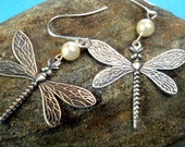 Antiqued Silver Pearl Dragonfly Earrings, Unique, pretty, nature-inspired, water, delicate, stamped jewelry, Handmade in Santa Cruz