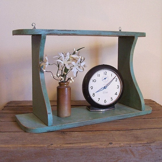 Vintage Sage Green Wall Shelf / Farmhouse Chic