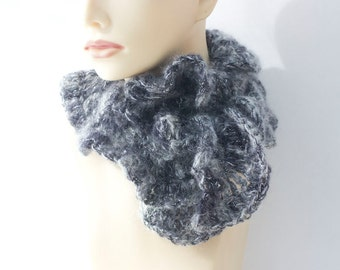 SALE, Crocheted Ruffle Scarf,  Warm Winter Accessories, Gray, Grey Metallic Ruffled Scarf for Women, Ready to Ship