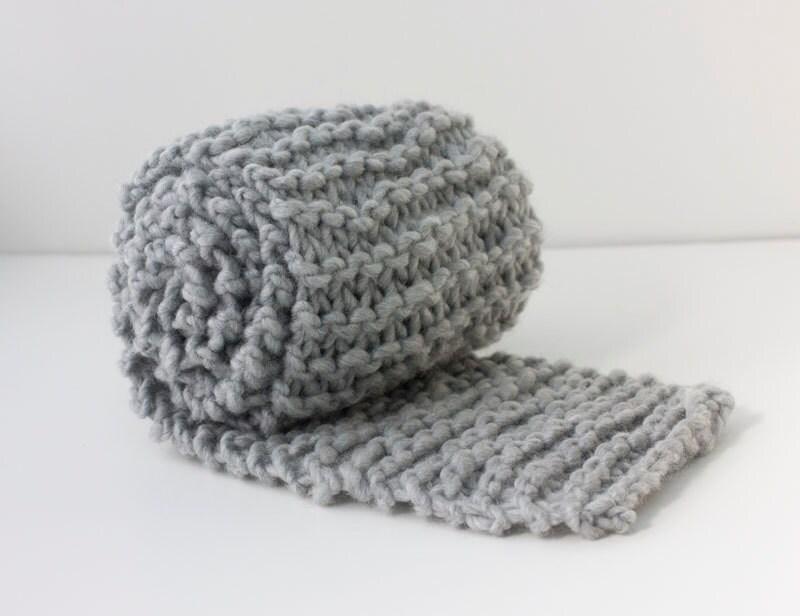 Knitting Pattern Mens Chunky Scarf : Knit Mens Scarf Gray Chunky Scarf Knit Chunky
