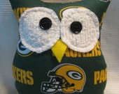 """Hooters Stuffed Owl Pillow """"GBP"""" featuring  Green Bay Packers fabric"""