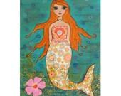 Mermaid Art Print,16 x 20 Inch Mermaid Print, Mermaid Nursery Art Print, Mermaid Nursery Decor - Children Bedroom Art