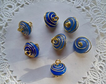 BLUE BEAD Connectors/Gold Wire-Wrapped Connectors/Blue Beads/GOLD Connectors