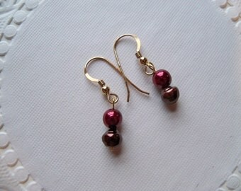 Sale - PEARL Dangle Earrings/Sale Earrings/Pearl Earrings/Colored Pearl Earrings/Cranberry and Chocolate Pearls