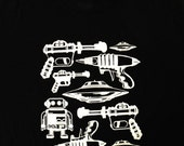 Raygun Robot UFO T-Shirt - The Sci Fi Geek Mens Unisex Shirt - Available in sizes S, M, L, XL
