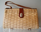 Vintage 1960s Woven Handbag with Leather Accents