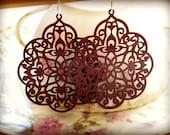 Sangria.  burgundy lace filigree dangle earrings.  Sterling silver ear wire.  nickle free.