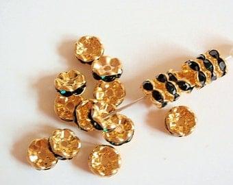 6 Grade AAA Dark Emerald Green Rhinestone Rondelle Spacer Beads, Jewelry making Bead Supply, Gold Plated Brass , Wavy Edge, 8mm Diameter