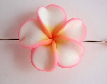 12 Clay Beads, Supply, Beautiful Handmade Ivory Flowers of Polymer Clay with petals edged in pink, 34mm diameter