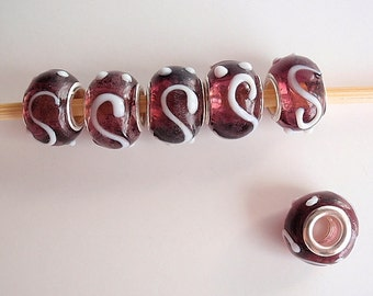 5 Handmade Lampwork European Style Beads, Jewelry making Supply, rondelle for European style bracelets