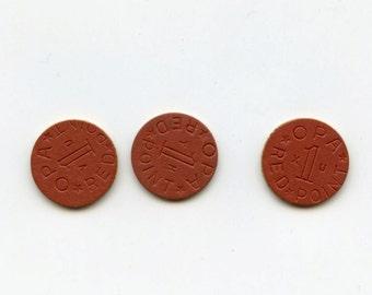 3 Red Opa Ration Token Errors,Red Point, XU,YH,VU, off-set struck,strike,World War 2 era,Home Front
