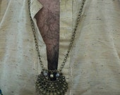 Feathered Brass Tribal Neck Chain