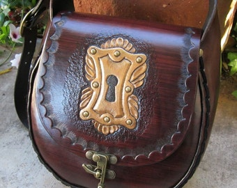 The Keyhole Purse....Handmade Tooled and Studded Gold Escutcheon Leather Bag