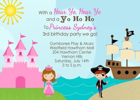 Items similar to Princess and Pirate Birthday Invitation on Etsy – Princess and Pirate Birthday Invitations