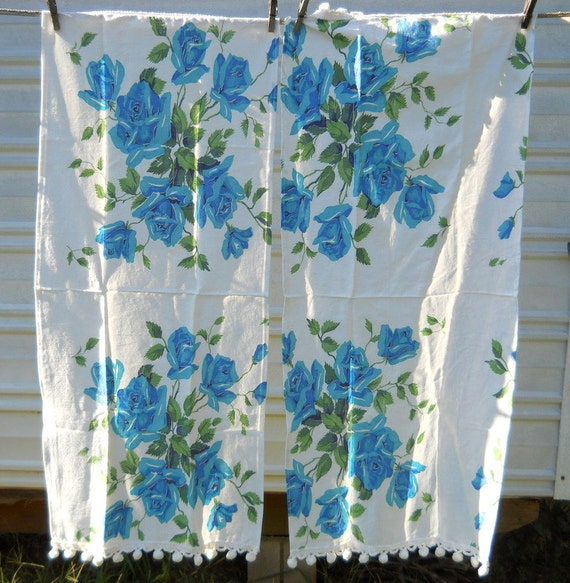 Feedsack Kitchen towels Pair  white with aqua roses and pom pom trim Farmhouse Cottage Chic