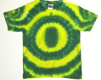 Yellow and Green Tie Dye Shirt. Oregon Ducks Tie Dye T-Shirt - Youth extra Small