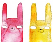 Greeting card - Rabbits heads