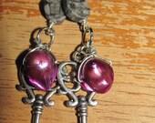 Purple Pearl and Black Jasper Key dangle earrings